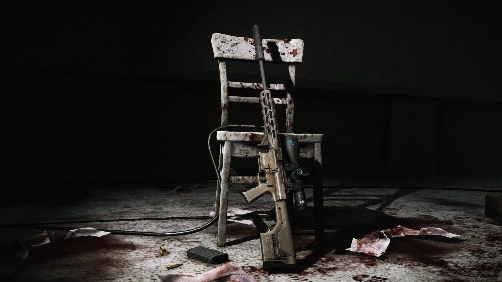 Bloody gun on chair - EFT Wallpaper